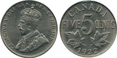 Канада 5 центов 1922 год  Георг V.jpg