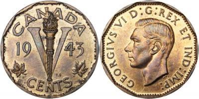 Канада 5 центов 1947 год  Георг VI.jpg