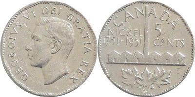 Канада 5 центов 1951 год  Георг VI.jpg