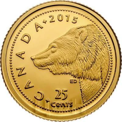 Канада 25 центов 2015 год Гризли (реверс).jpg
