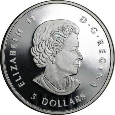 Канада 5 долларов, «ELIZABETH II», «D • G • REGINA» (аверс).jpg
