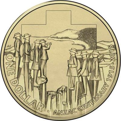 Австралия 1 доллар 2015 год бронза ANZAC CENTENARY 1915 - 2015 (реверс).jpg