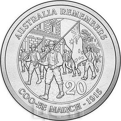 Австралия 20 центов 2015 год COO-EE MARCH (реверс).jpg
