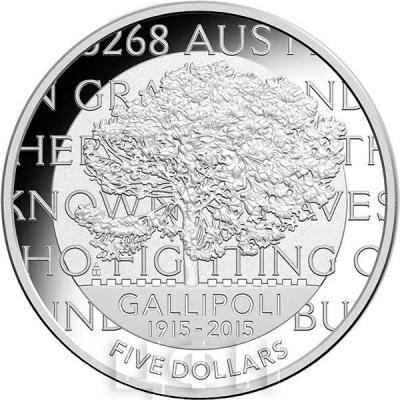 Австралия 5 долларов 2015 год GALLIPOLI (реверс).jpg