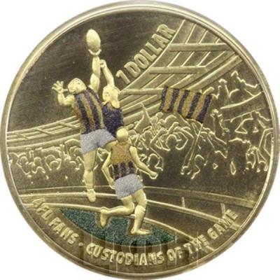 Австралия 1 доллар 2015 год Australian Football League цветная (реверс).jpg