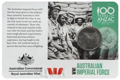 Австралия 20 центов АНЗАК AUSTRALIAN IMPERIAL FORCE (карточка)..jpg