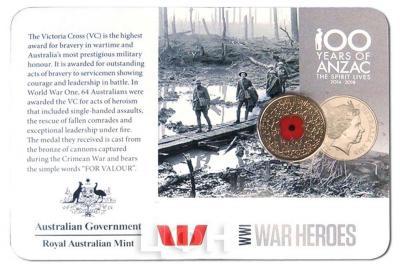 Австралия 20 центов АНЗАК WWI WAR HEROES (карточка)..jpg