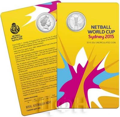 Австралия 20 центов 2015 NETBALL WORLD CUP (карточка).jpg