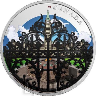 Канада 30 долларов 2018 год Парламентские ворота (реверс).jpg