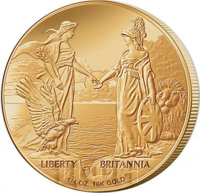 Тристан-да-Кунья 1 крона 2015 год золото «США и Британия» (реверс).jpg