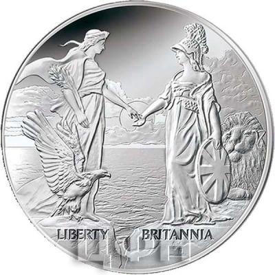 Тристан-да-Кунья 1 крона 2015 год серебро «США и Британия» (реверс).jpg