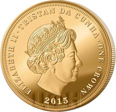 Тристан-да-Кунья 1 крона 2015 год золото (аверс).jpg