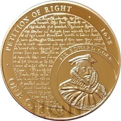 Тристан-да-Кунья 1 крона 2015 год. Монета PETITION OF RIGHT • 1628.jpg