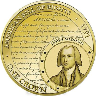 Тристан-да-Кунья 1 крона 2015 год. Монета Билль о правах (США).jpg