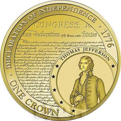 Тристан-да-Кунья 1 крона 2015 год. Монета Декларация независимости США.jpg