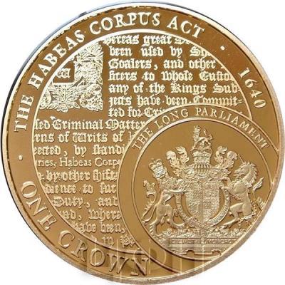 Тристан-да-Кунья 1 крона 2015 год. Монета THE HABEAS CORPUSACT 1640.jpg