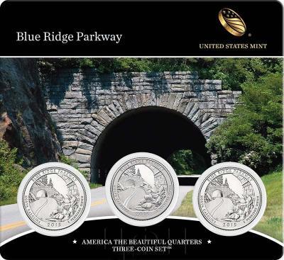 США квотер 2015 года «28. Национальный парк США Автомагистраль Блу-Ридж карточка (реверс).jpg