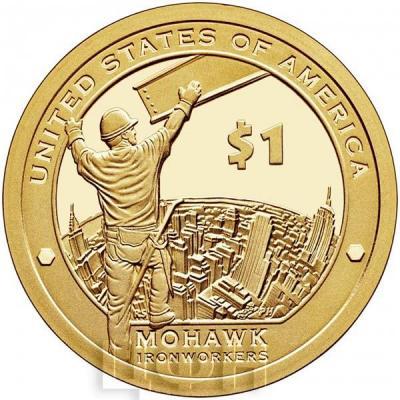 США 1 доллар Сакагавея 2015 Индейцы Могавки-строители-высотники (реверс).jpg