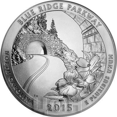 США квотер 2015 года Автомагистраль Блу-Ридж серебро (реверс).jpg