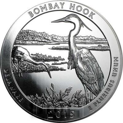 США квотер 2015 года Убежище дикой природы Бомбай-Хук серебро (реверс).jpg
