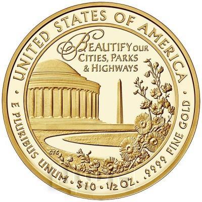 США 10 долларов 2015 года «Леди Бёрд Джонсон» (реверс).jpg