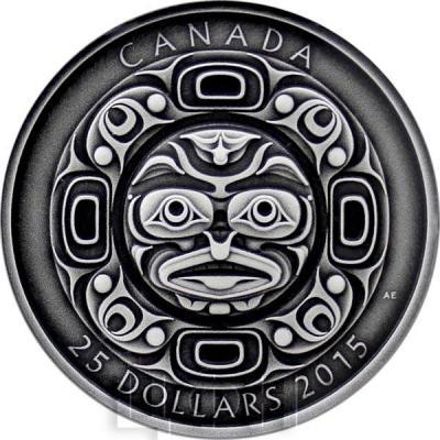 Канада 25 долларов 2015 год «Маска Поющая луна» античная (реверс).jpg