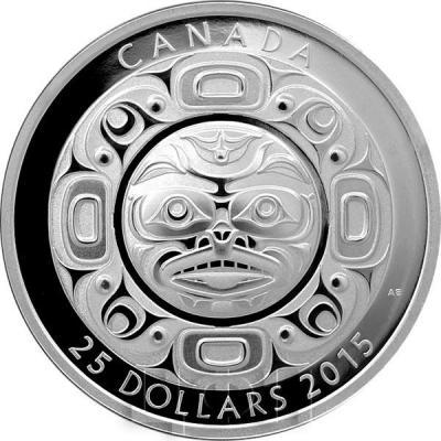 Канада 25 долларов 2015 год «Маска Поющая луна» пруф (реверс).jpg