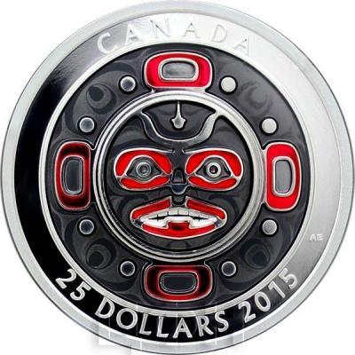 Канада 25 долларов 2015 год «Маска Поющая луна» эмаль (реверс).jpg