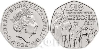 Великобритания 2018 год 50 центов - «Столетиеизбирательного закона».jpg