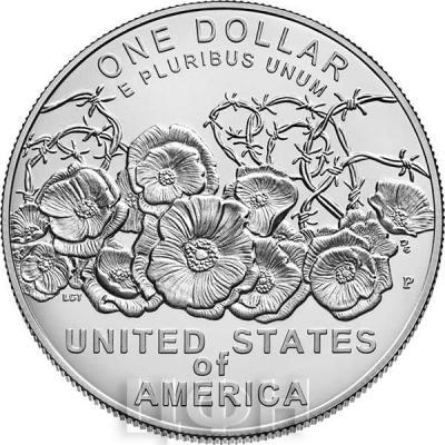 США 1 доллар 2018 «Окончание Первой Мировой войны» (реверс).jpg