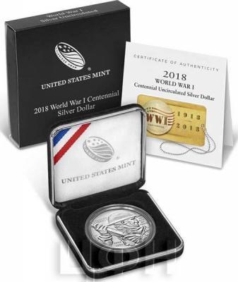 США 1 доллар 2018 «Окончание Первой Мировой войны» (UNC).jpg