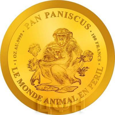 Бурунди 100 франков 2018 «PAN PANISCUS. LE MONDE ANIMAL PERIL. 1 OZ AU .9999» (реверс).jpg