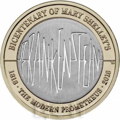 Великобритания 2 фунта 2018 год «200 лет роману Мэри Шелли «Франкенштейн»» (реверс).jpg