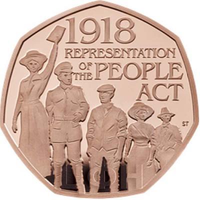 Великобритания 50 пенсов 2018 год «Столетие избирательного закона» (реверс).jpg