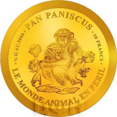 Бурунди 50 франков 2018 год «Карликовый шимпанзе» (реверс).jpg