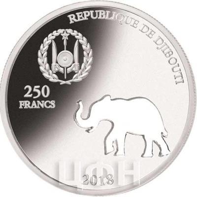 Джибути 250 франков 2018 ELEPHANT (аверс).jpg