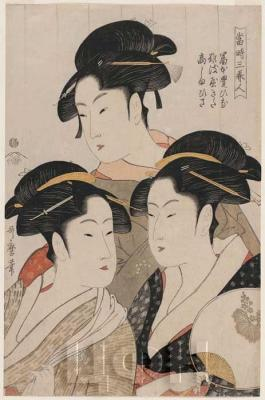 NIUE 10 DOLLARS 2015 «Гейши» «Три красавицы нашего времени» Утамаро Китагава.jpg