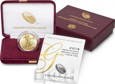 США Орёл 2018 года золотая монета (аверс).jpg