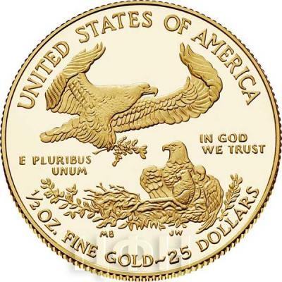 США Орёл 2018 года золотая монета (реверс).jpg