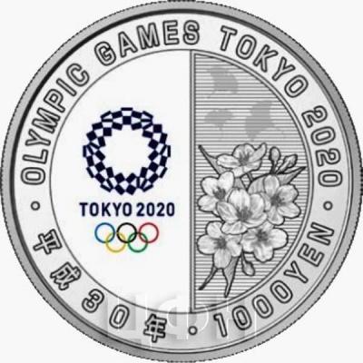 Япония 1 000 йен 2018 год «Олимпийские игры 2020 года» (аверс).jpg