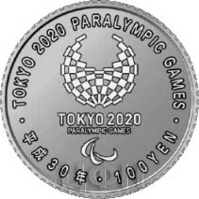 Япония 100 иен 2018 год «Паралимпийские игры 2020 года» (аверс).jpg