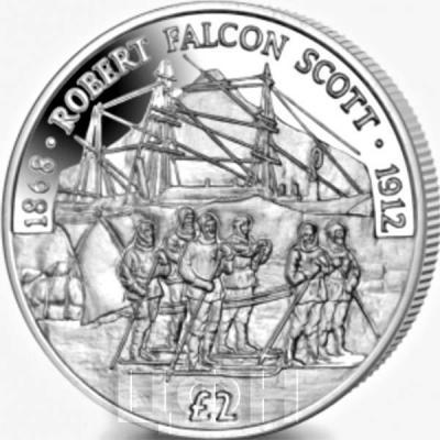 Британские Арктические территории 2 фунта 2018 год «Robert Falcon Scott» (реверс).jpg