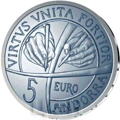 Андорра 5 евро 2018  «25-летие Конституции Андорры» (аверс).jpg