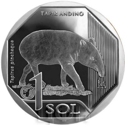 Перу 1 соль 2018 год «Горный тапир» (реверс).jpg