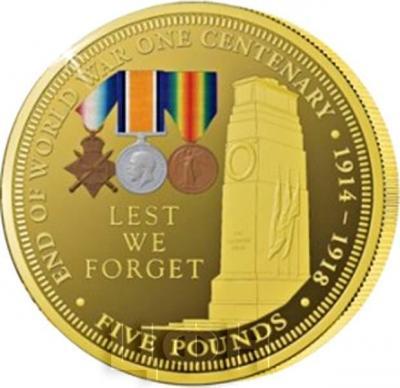 Тристан-да-Кунья 5 фунтов  2018 год «столетний юбилей Первой мировой войны». (реверс).jpg