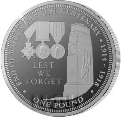 Тристан-да-Кунья 1 фунт 2018 год «столетний юбилей Первой мировой войны» (реверс).jpg