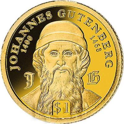Самоа 1 доллар 2018 года «Иоганн Гутенберг» (аверс).jpg
