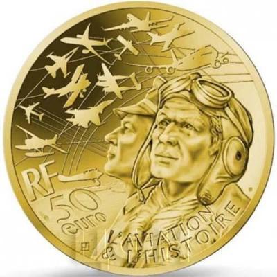 Франция золото 50 евро «Авиация и история» (реверс).jpg