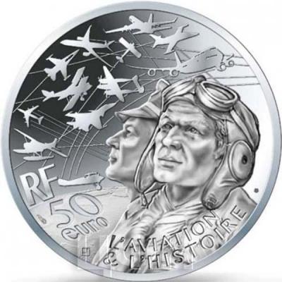 Франция серебро 50 евро «Авиация и история» (реверс).jpg