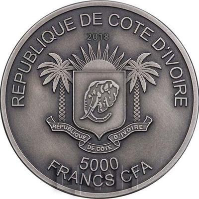 Кот-д'Ивуар 2018 LEOPARD Big Five Mauquoy 5 Oz Silver Coin 5000 Francs (аверс).jpg